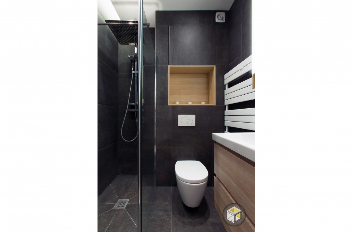 salle de bain wc suspendus noir bois