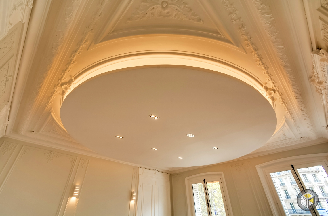 faux plafond rond lumière indirecte travaux paris